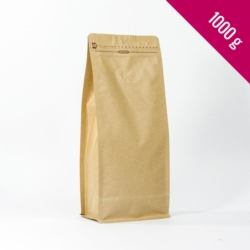 Box bottom pouch 1000g kraft, 250 pcs. + zip + valve