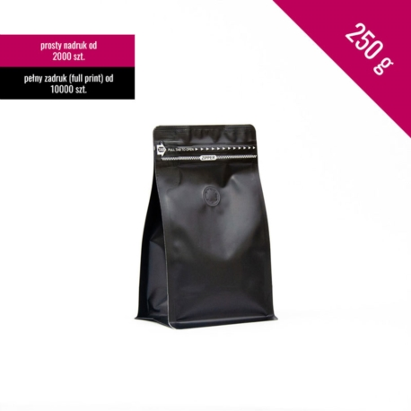 Box bottom pouch 250g black, 250 pcs. + zip + valve