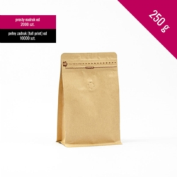Box bottom pouch 250g kraft, 250 pcs. + zip + valve
