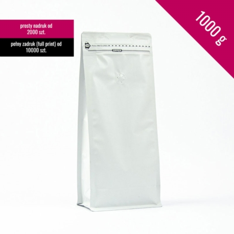 Box bottom pouch 1000g white, 250 pcs. + zip + valve