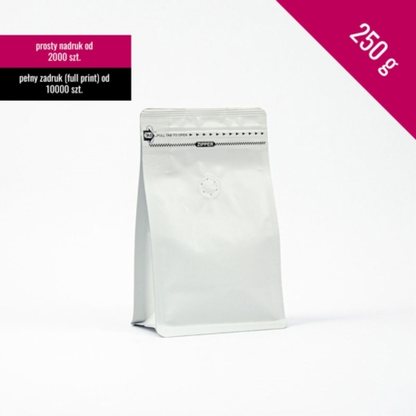 Box bottom pouch 250g white, 250 pcs. + zip + valve