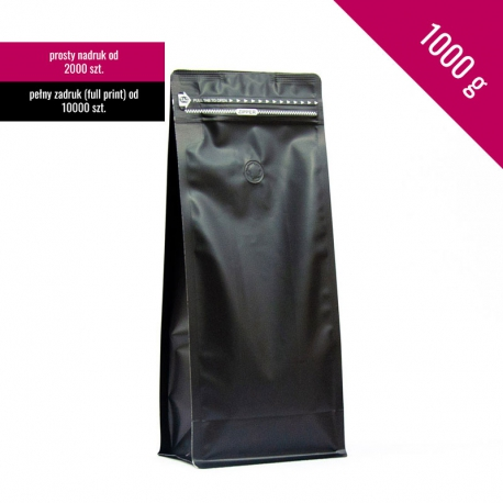 Box bottom pouch 1000g black, 250 pcs. + zip + valve